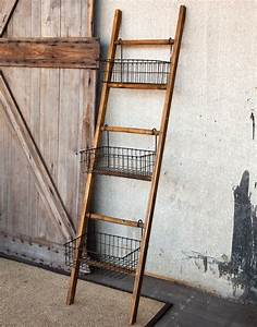 Ladder with wire display basket eclectic home decor