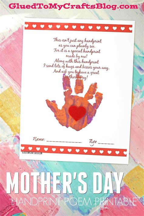 handprint s day poem printable glued to my crafts 334 | mothers day poem printable