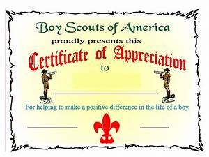 bsa certificate of appreciation boy scout certificate of With cub scout certificate templates