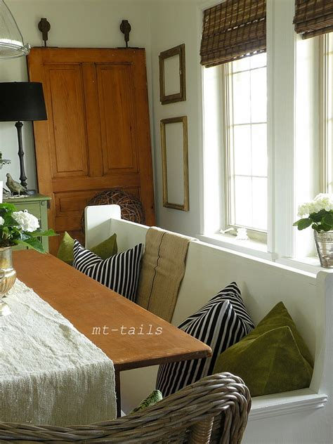 church pews pew fabric dining decorating bench oliverandrust table stripe hung saw pillows velvet antique