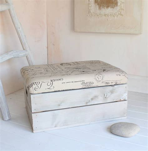 Padded Footstool With Storage by A Popular Wooden Half Crate Footstool And Storage Box