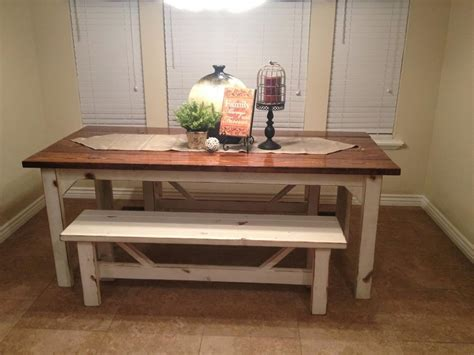 rustic nail farm style kitchen table  benches  match