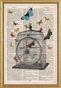 Vintage Dictionary Book Art Print Victorian Bird Cage 19645