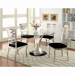 Furniture, Of, America, Sparling, Contemporary, 5, Piece, Dining, Table, Set, With, Ladderback, Chairs