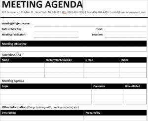 formatted agenda template  docx  printable