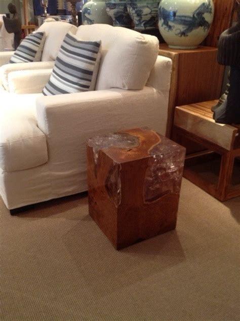 teak root stool side table  acrylic resin fill