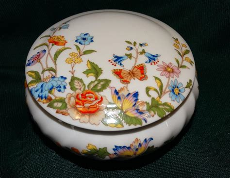 Aynsley Trinket Vanity Jar Bone China Cottage Garden