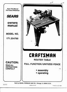 1992 Craftsman 171 254790 Router Table