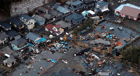 aerial view  japan devastation  earthquake