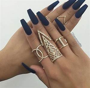 Navy blue matte acrylic nails | uñas | Pinterest ...