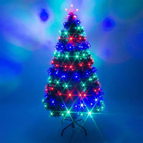 Green Fibre Optic LED Lights Remote Control Xmas Tree