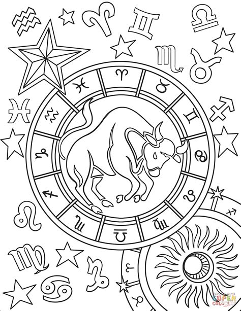 constellation of capricorn worksheet taurus zodiac sign coloring page free printable coloring