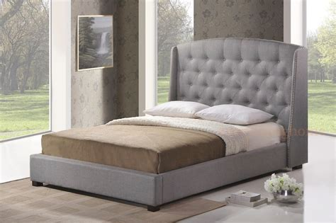 gray tufted bed gray grey linen platform bed frame w tufted