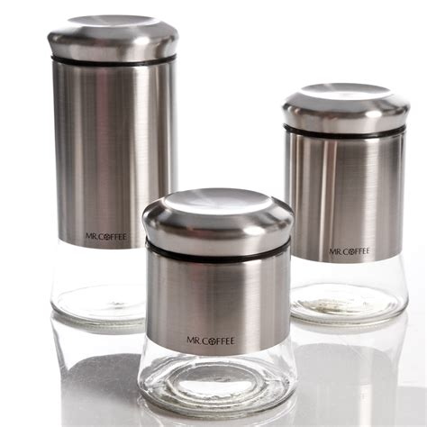 Canister Sets Stainless Steel by Mr Coffee Gear 3 Glass Canister Set Stainless Steel