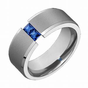 Mens titanium wedding band blue sapphire tension set for Sapphire engagement ring and wedding band set