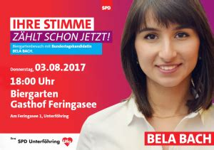 Bela bach (born 30 september 1990) is a german politician of the social democratic party (spd) who has been serving as a member of the bundestag from the state of bavaria since 2020. Bela Bach im Biergarten am Feringasee treffen   SPD Unterföhring