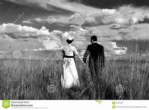 Wedding Couple Holding Hands While Walking Stock Image ...