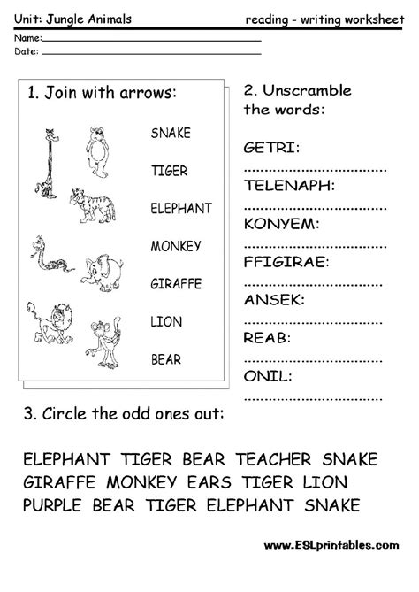 jungle animals interactive worksheet