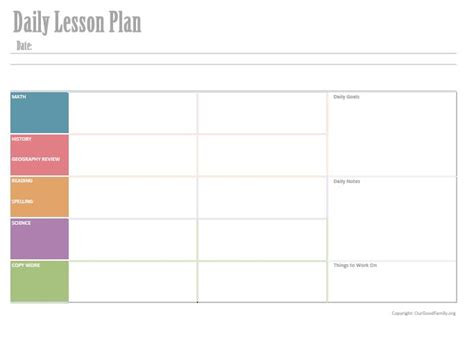 Downloadable Daily Lesson Planner * Our Good Life