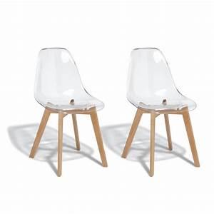 Chaise Plastique Transparente : lot de 2 chaises chlo transparente chaise salle manger et cuisine meuble gifi ~ Melissatoandfro.com Idées de Décoration