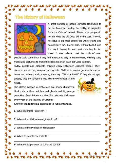 halloween history  kindergarten worksheet