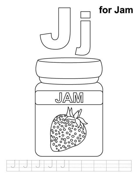 jam coloring page  handwriting practice teaching kids crafts pinterest