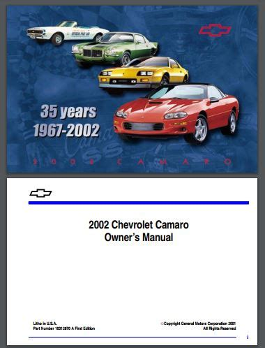 free auto repair manuals 2002 chevrolet camaro regenerative braking 1993 2002 chevy camaro owner s manual free download westcoast auto parts com