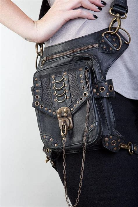 vintage steampunk gothic style leather harness belt waist hip pack bag motorcycle bag