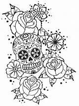 Roses Coloring Skull Rose Calavera Badass Adult Adults Skulls Boardwalk Sugar Deviantart Notebook Printable Monsieur Template Mandala sketch template