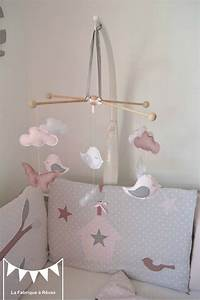 Mobile Chambre Bébé : mobile b b enfant fille rose poudr gris rose ancien blanc papillons nuage oiseau chambre ~ Teatrodelosmanantiales.com Idées de Décoration