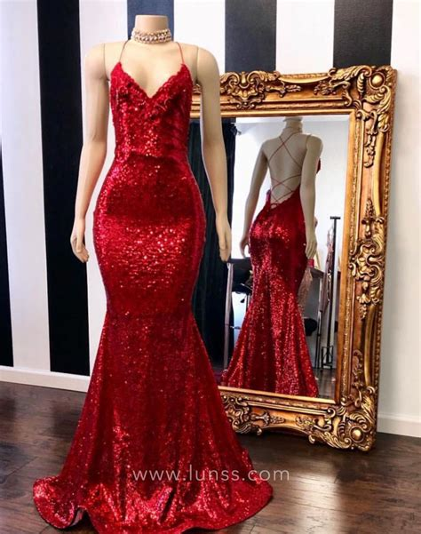 red sequin spaghetti straps fit  flare prom gown lunss