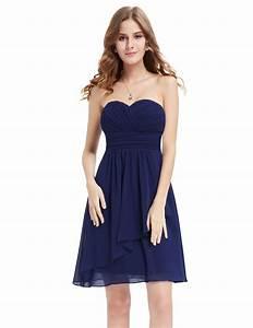 Navy Blue Sweetheart Neckline Strapless Bridesmaid Dress ...