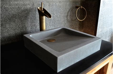 "16"" Bathroom Sink Gray Basalt Stone Concrete Look Kiama Moon"