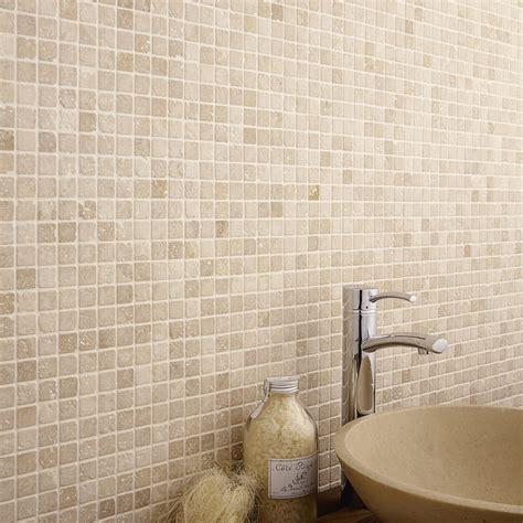 mosaique naturelle salle de bain mosa 239 que sol et mur mineral travertin ivoire leroy merlin
