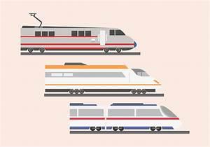 High speed rail TGV city train illustration flat color ...