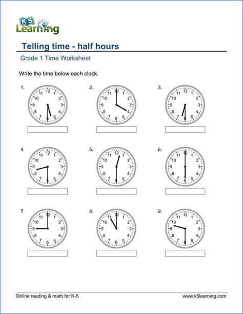 printable worksheet for grade 1 1st grade telling time worksheets free printable k5 learning