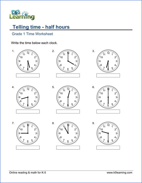 1st grade telling time worksheets free printable k5 learning