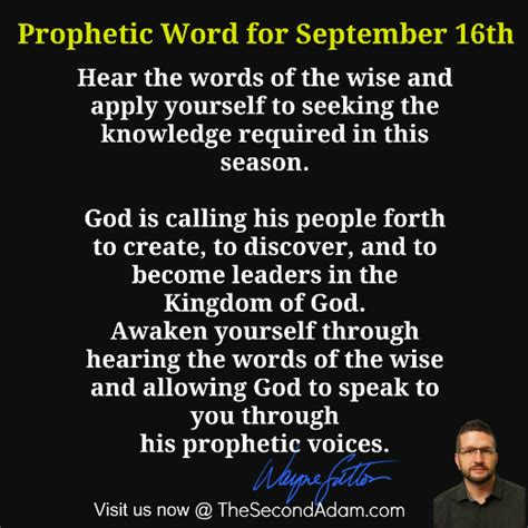 September 16 Daily Prophetic Word Of God  The Second Adam