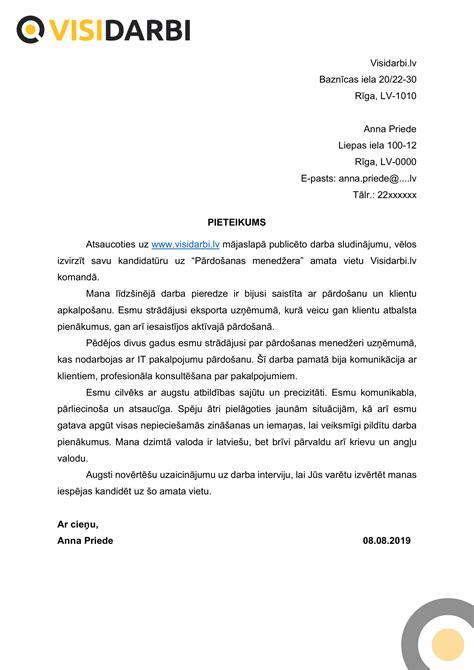 Motivācijas vēstules paraugs   VisiDarbi.lv