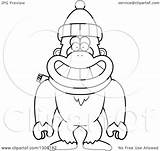 Snowman Yeti Abominable Scarf Clipart Wearing Outline Cartoon Monkey Winter Hat Illustration Vector Happy Lineart Royalty Thoman Cory Without Regarding sketch template