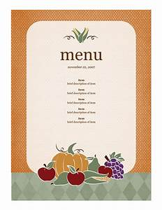 menu template word With create a menu template free