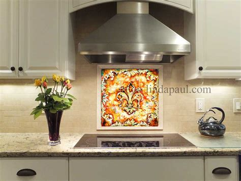 Fleur De Lis Tile Backsplash Mural For Kitchen Wall Decor