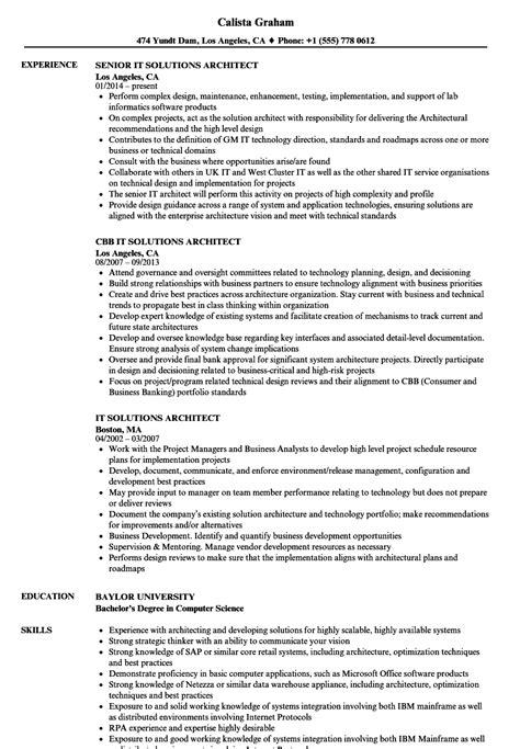 Sle Solution Architect Resume by Solution Architect Resume Sle Vvengelbert Nl