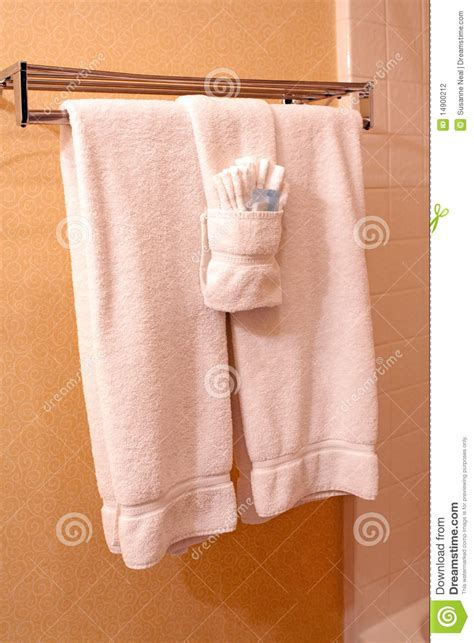 bathroom towel hanging ideas white towels on towel rack in hotel stock photo image