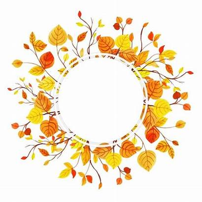 Autumn Leaves Frame Watercolor Vector Background Paint