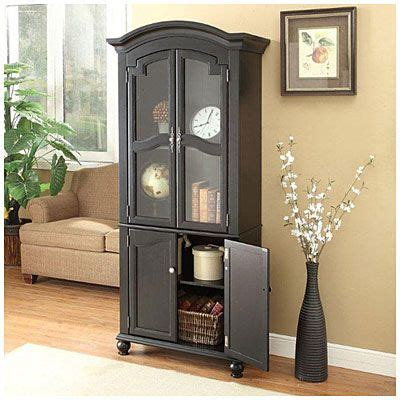 Living Room With Door In Middle by 72 Quot Black Cabinet With Glass Door At Big Lots Great For