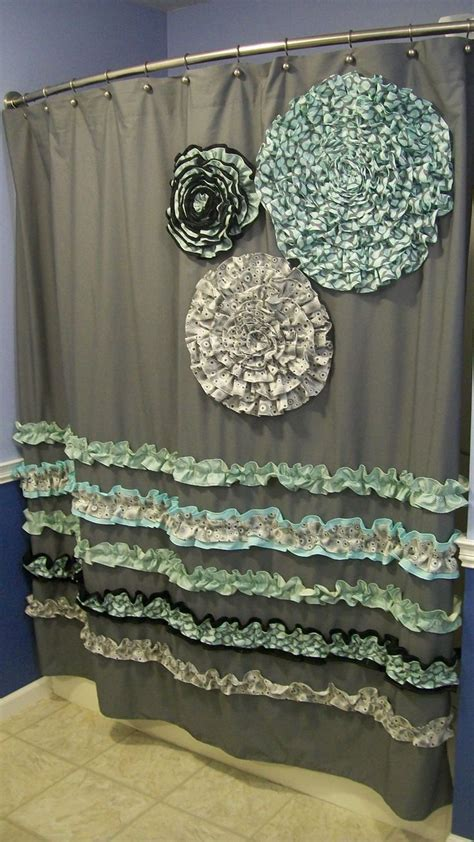 shower curtain custom made ruffles and flowers designer