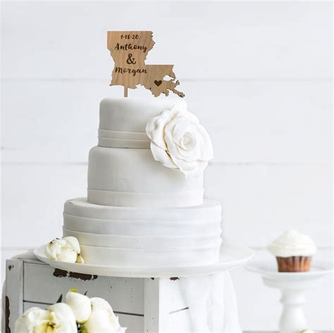 State Cake Topper Rustic Wedding Decor Personalized