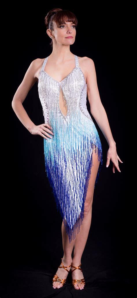 sexy white  blue beaded fringe latin dress