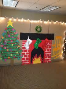 Christmas Cubicle Decorations Fireplace